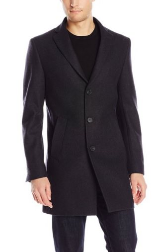 DKNY Men's Denn 34 Inch Overcoat Charcoal Solid