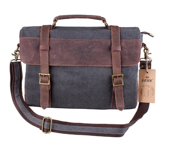 S-ZONE Vintage Canvas Leather Messenger Bag