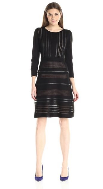 Calvin Klein Women's Sweater Dress with Faux Leather Piping