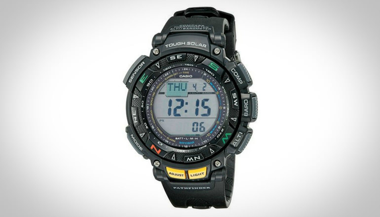 Casio Men's Pathfinder Triple Sensor Multi-Function Sport Watch is one of the smartest military watches you can get in the market today. It is not just the time which it gauges. It also measures several more important metric readings such as barometer, altimeter, and thermometer. This means you can be aware how high you are when you are in the mountains or in an airplane. You can also monitor the temperature around you. Its battery is rechargeable and can last up to 6 months. With this, you don't have to buy new batteries for replacement. Aside from that, this watch is equipped with digital compass, so you can identify your directions wherever you go.