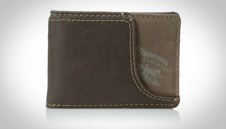 Levi's Men Slim Front Pocket Wallet With Money Clip