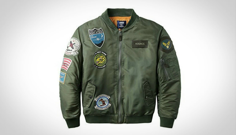 Neo-wows Men Bomber Jacket with Patches