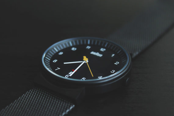 Watch with black dial